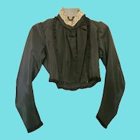 Near Mint Antique Victorian Black Satin L/S Blouse w/Lace Collar