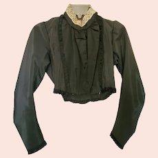 Near Mint Antique Victorian Black Satin L/S Blouse w/Lace Collar