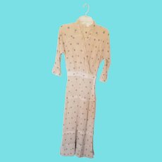 Near Mint Vintage Cotton Gauze Day Dress w/Embroidered Flowers & Lace Collar