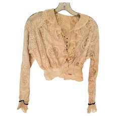 Antique Victorian Embroidered Gauze & Tulle Ruffled Collar Ladies' Blouse