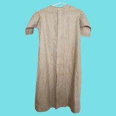 Near Mint Antique Late 19th Early 20th C. Brown & White Striped Child's Gown