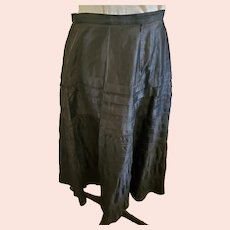Antique Victorian Black Polished Cotton Mourning Skirt in Great Condition