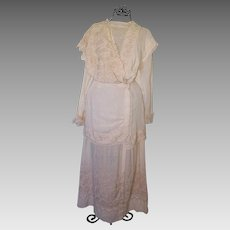 Beautiful Antique Edwardian Asymmetrical Design Day Dress