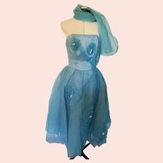 Stunning Mint Condition 1950's Sky Blue Organza & Tulle Strapless Formal Dress