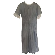 Antique Early 1900s Little Girl's Gray and White Cotton Dress