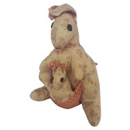 Vintage Folk Art Kangaroo Stuffed Toy With Joey From My Collection