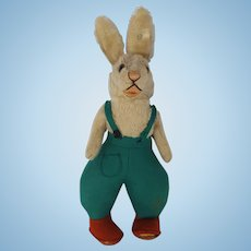 "Vintage 11"" Steiff Rabbit in Overalls with Original Button in Ear"