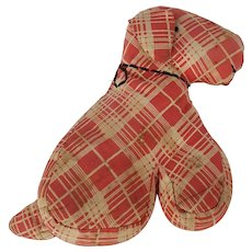 Vintage 1930's Primitive Folk Art Red Plaid Dog Stuffed Toy