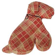 Vintage 1930's Primitive Folk Art Red Plaid Dog Stuffed Toy