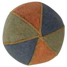 Vintage Folk Art Multi-Color Felt Baby's Ball Toy