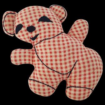 Small Vintage Primitive Folk Art Teddy Bear Stuffed Toy