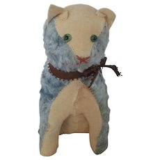 Vintage Blue Mohair & Off-White Flannel Excelsior Stuffed Toy Cat