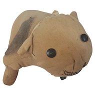 Vintage 1930's Primitive Folk Art Bulldog Stuffed Toy with 1931 Dog License