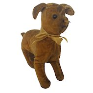 Antique Primitive Folk Art Velveteen Straw Stuffed Dog Toy from my Collection