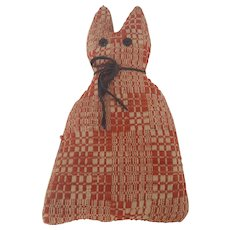 Vintage Folk Art Red Coverlet Cat Stuffed Toy