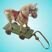 Vintage Dapple Gray Horse Pull-Toy
