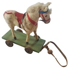 Vintage Dapple Gray Horse Pull-Toy