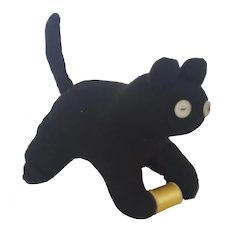 Vintage Primitive Folk Art Black Cat with Spool Stuffed Toy Pin Cushion Whimsy