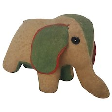 Vintage Primitive Hand Made Folk Art Elephant Stuffed Toy