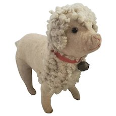Antique White Flannel & Wool Straw Stuffed Poodle from my Collection