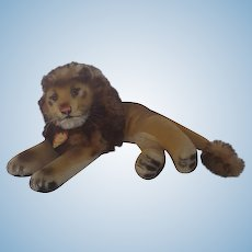 "Vintage 11"" Steiff Recumbent Leo the Lion Stuffed Toy"