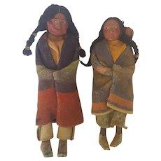 Vintage Pair of Vintage Skookum Dolls - Man & Woman with Papoose