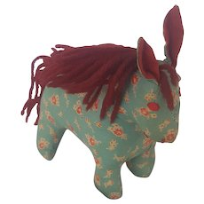 Vintage PA. Folk Art Calico Horse Stuffed Toy or Pin Cushion