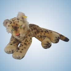 "Mid 20th C. 16"" Steiff Recumbent Leopard Stuffed Toy with Button in Ear"