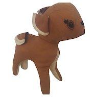 Vintage Primitive Naive Folk Art Deer Stuffed Toy