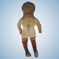 Antique 19th C. Primitive Fabric Doll with Printed Face & Clothes