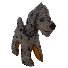 Small Vintage Primitive Folk Art Gray with Black Spots Dog Stuffed Toy
