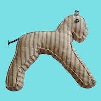Vintage Primitive Pennsylvania Folk Art Pillow Ticking Horse Stuffed Toy
