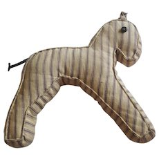 Vintage Primitive Pennsylvania Folk Art Pillow Ticking Horse Stuffed Toy