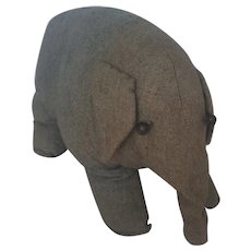 Antique Early 1900's Primitive Folk Art Elephant Stuffed Toy