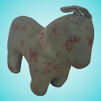 Vintage PA. Folk Art Oilcloth Horse Stuffed Toy