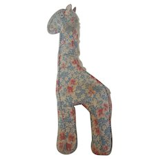 Vintage Primitive PA. Folk Art Floral Print Feed Sack Stuffed Toy Giraffe