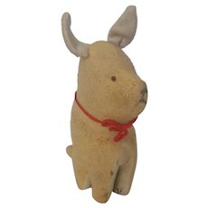 Early 1900's Primitive Folk Art Tan and Off-White Stuffed Toy Dog