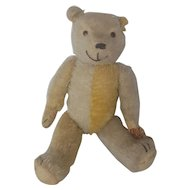 Rare Vintage 1920's Articulated Yellow & White Mohair Harlequin Teddy Bear