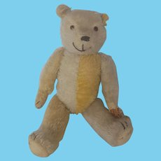 Rare Vintage 1920's Articulated Yellow & White Mohair Harlequin Teddy Bear, Possibly Steiff