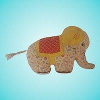 Vintage 1950's Handmade Folk Art Print Fabric Elephant Stuffed Toy