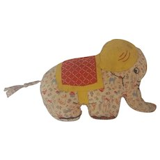 Vintage 1950's Handmade Folk Art Print Fabric Elephant Stuffed Toy