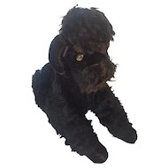 """Large 16"""" Vintage 1950's Black Mohair Steiff Poodle with Button in Ear"""