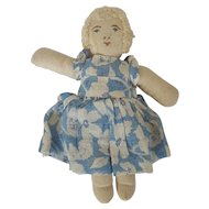 Vintage Primitive Folk Art Rag Doll w/Feed Sack Dress