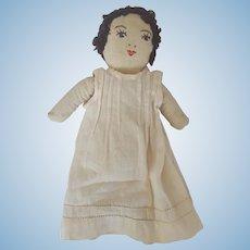 Vintage Primitive Folk Art Rag Doll w/Embroidered Shoes