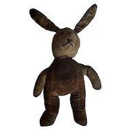 Late 19th C. Super Primitive PA. Folk Art Rabbit Stuffed Toy Doll