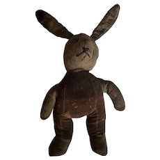Late 19th C. Super Primitive PA. Folk Art Rabbit Stuffed Toy Doll