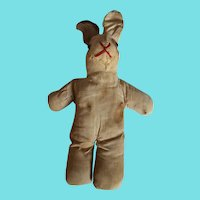 Late 19th C. Super Primitive PA. Folk Art Rabbit Stuffed Toy Doll #2