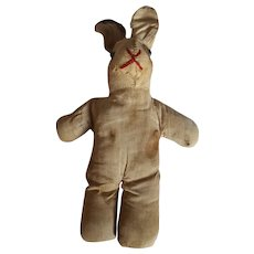 Late 19th C. Super Primitive PA. Folk Art Rabbit Stuffed Toy Doll #2