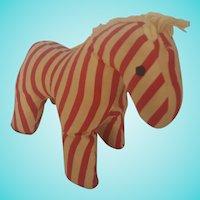 Sweet Diminutive Vintage Folk Art Red & White Striped Horse Stuffed Toy