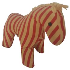 Sweet Diminutive Vintage Folk Art Red & White Striped Horse Stuffed Toy